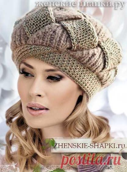0fe0494b5e78 Берет на спицах для женщин на зиму 2018 2019. Вязаные шапки береты ...