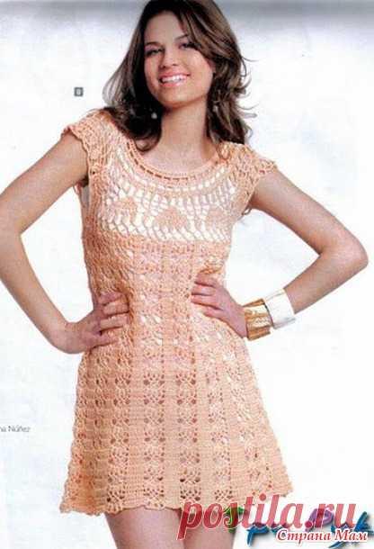 *Нежно-розовое ажурное платье с круглой кокеткой. - Все в ажуре... (вязание крючком) - Страна Мам