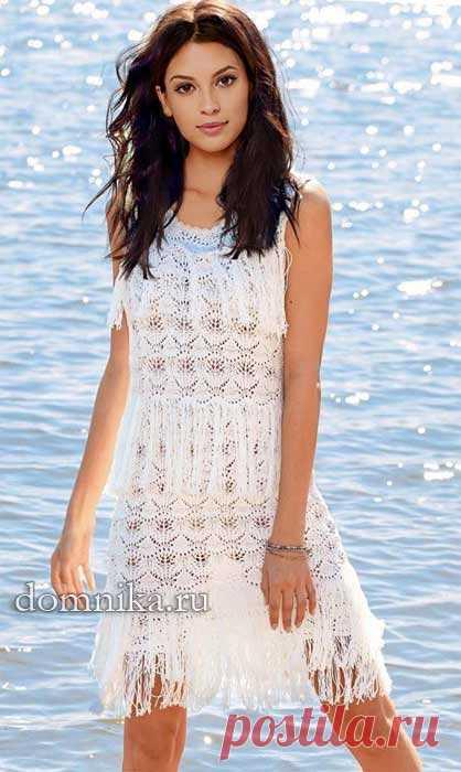 Летнее вязаное платье спицами схема вязания ажурного платья