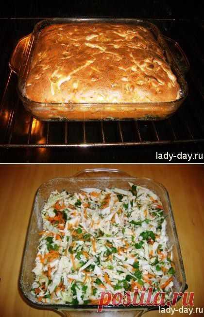 Пирог с капустой   Простые рецепты с фото