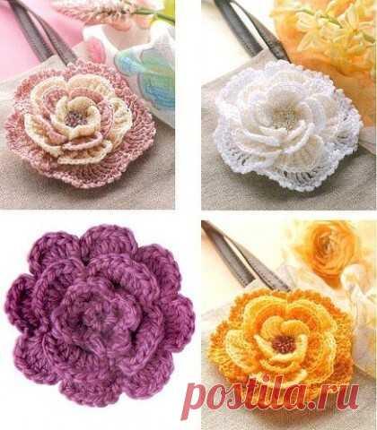 Декоративные цветочки крючком