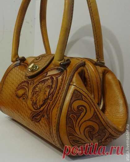 fdd6af81972f Купить Сумка с фермуаром - коричневый, орнамент, женская сумка из кожи,  Кожаная сумка