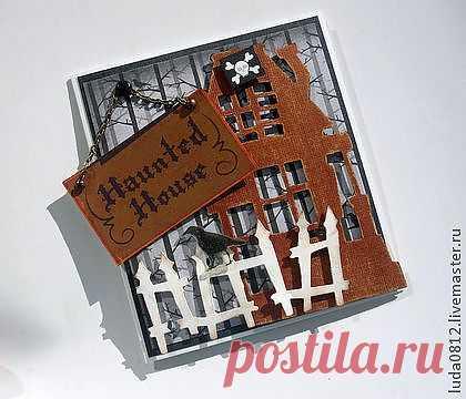"""Открытка """"Дом с приведениями"""" - чёрный,оранжевый,хеллоуин,приведение,домик"""