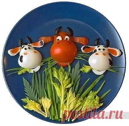 Карвинг для начинающих из помидор и яиц. Забавные коровки / Карвинг из овощей и фруктов - фото, видео для начинающих / КлуКлу. Рукоделие - бисероплетение, квиллинг, вышивка крестом, вязание