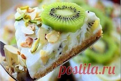 Как приготовить йогуртовый низкокалорийный торт с киви и бананом - рецепт, ингредиенты и фотографии
