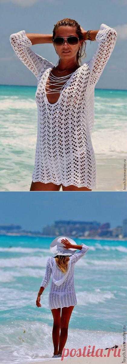 Королева пляжа - туника крючком.