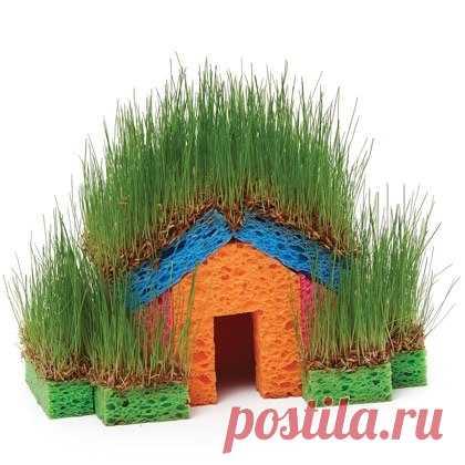 Весенняя поделка детям: зелёный домик! (Описание по клику на картинку).