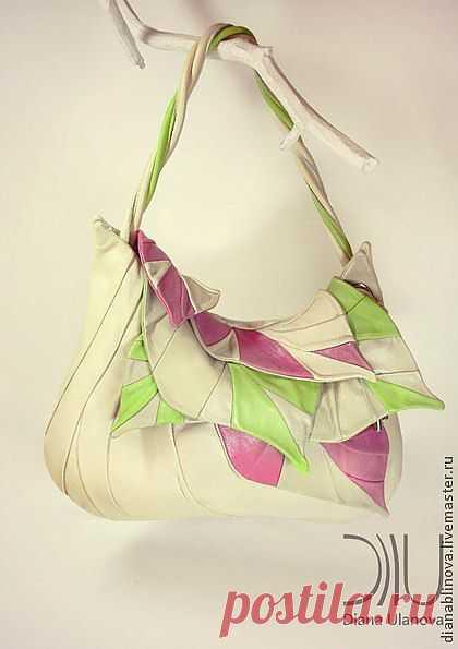 """Сумка кожаная """"Листья макси"""" - белый,сумка ручной работы,подарок женщине"""