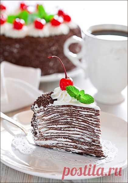 Торт из шоколадных блинчиков. (Рецепт по клику на картинку).