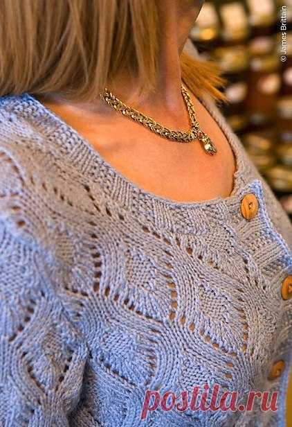 Ажурный жакет спицами с узором ромбы. Узор спицами листья для жакета |