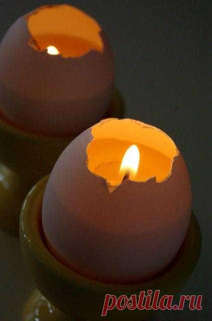 Свеча из скорлупы яйца