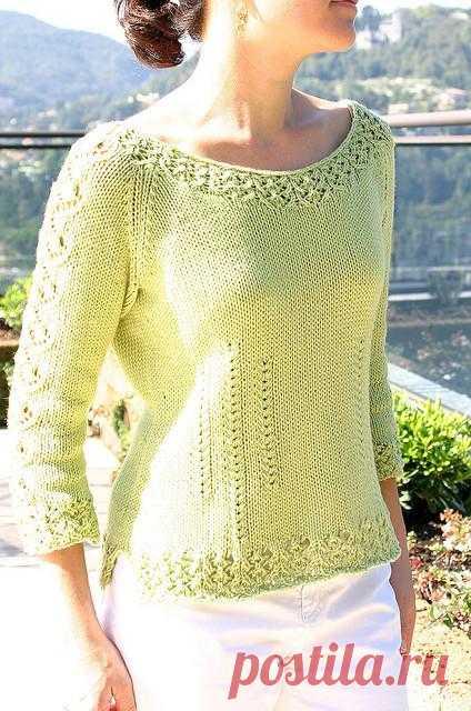 пуловер с ажурной каймой спицами