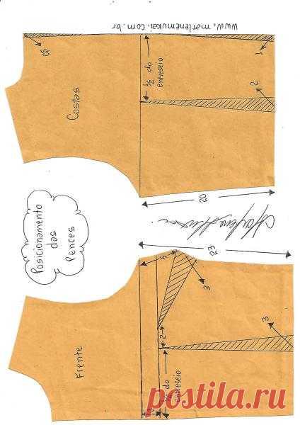 Transferência e pences e pences camufladas   DIY - molde, corte e costura - Marlene Mukai