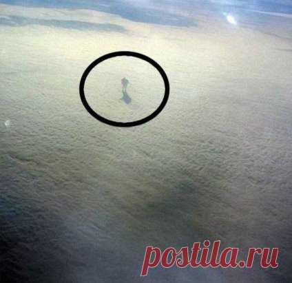 Ник О'Донохью, возвращающийся домой из отпуска, сделал этот снимок из самолета на высоте девяти тысячи метров. Природное ли это явление или живая суть, расхаживающая по облакам? В сети до сих пор ведутся на этот счет горячие споры.