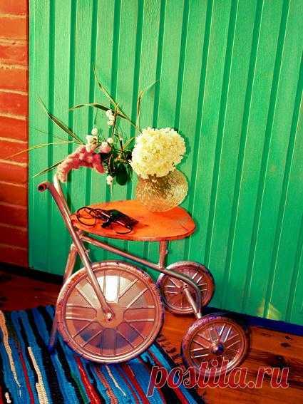 Столик из велосипеда - ремонт велосипеда, столик своими руками, переделка старых вещей