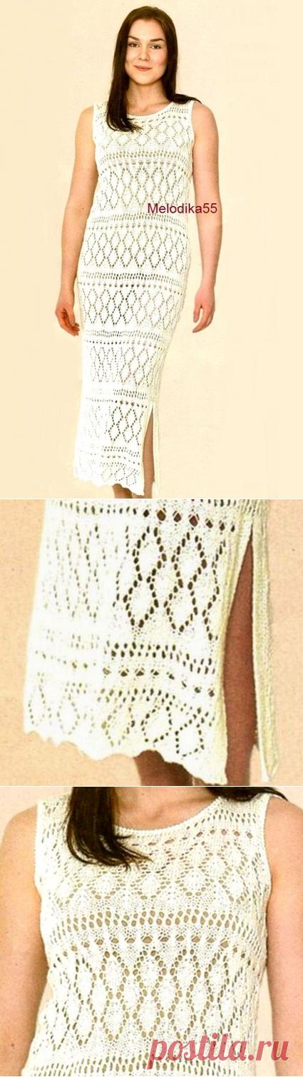 Спицы. Длинное ажурное платье