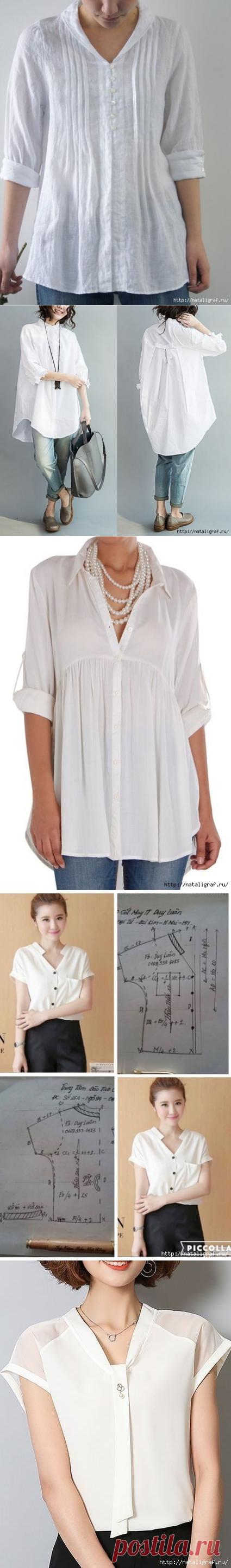 Белые блузы, рубашки и