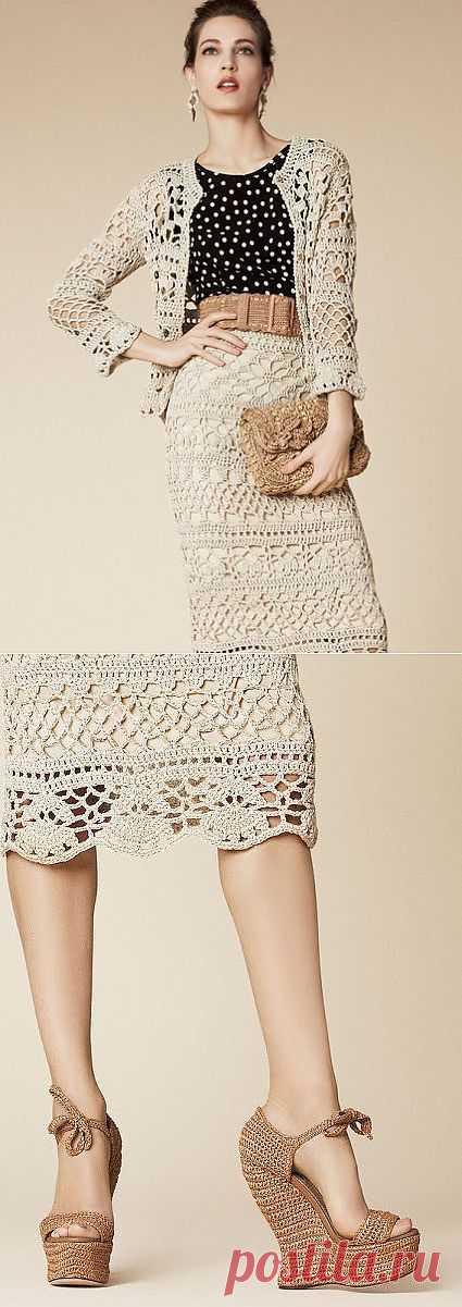Костюм крючком от Dolce&Gabbana 2013. Схемы.