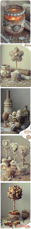 Los trabajos vintazhnye de la arpillera, el encaje, el yute y los granos de café. La Clase maestra por el candelero de Victoria Sakur.