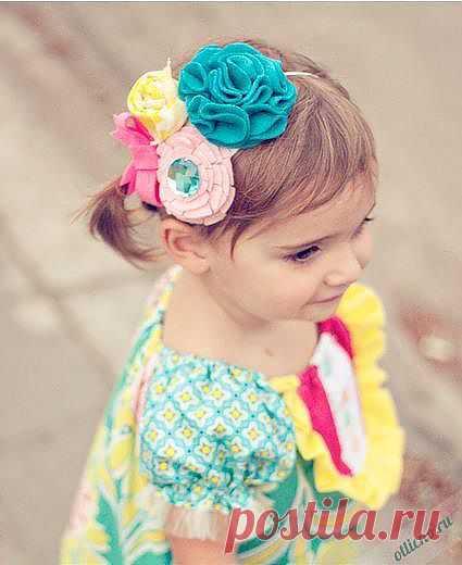 Ободок на голову из цветов и бантиков | Отлично! Школа моды, декора и актуального рукоделия