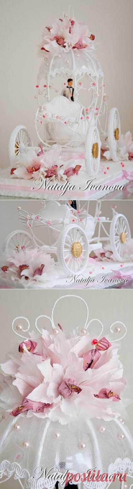 Свадебная карета из конфет от Натальи Ивановой. Фото мастер-класс.