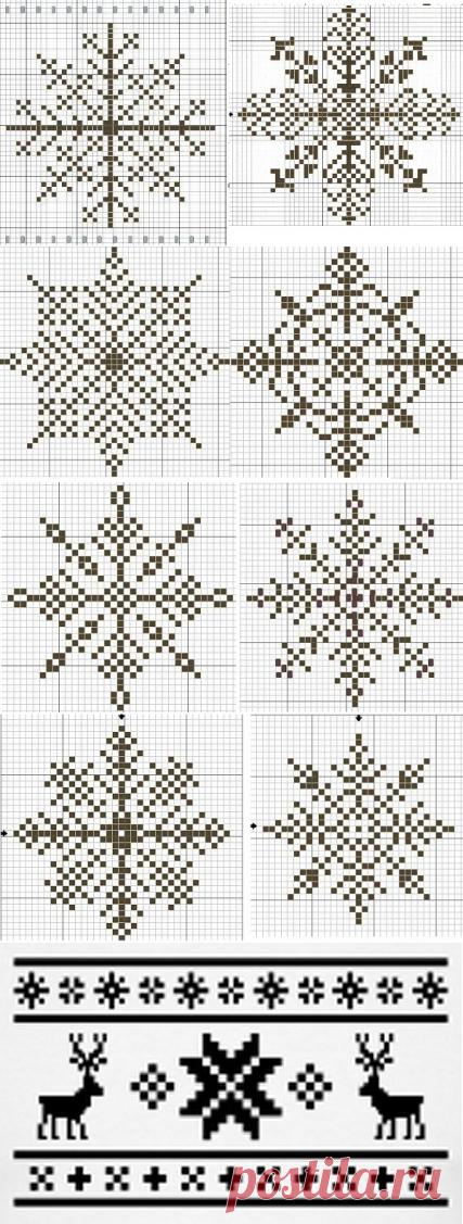 Зимние узоры для вязания | Дамская копилка