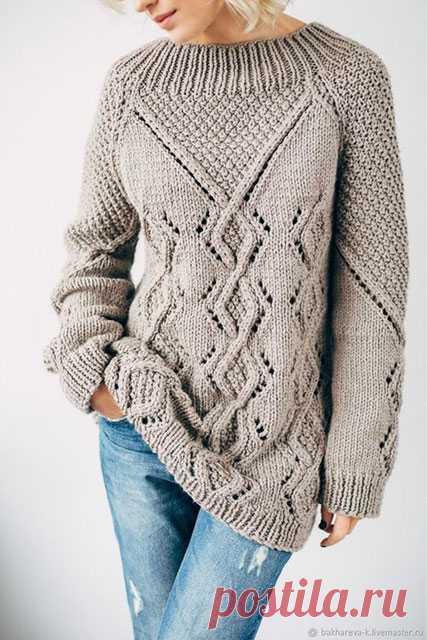 Джемпера и пуловеры реглан с ромбами спицами – 6 моделей со схемами и описанием