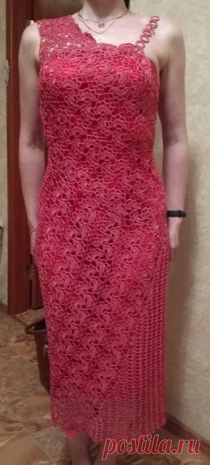 Платье из ленточного кружева Когда-то давно очень понравилось платье из ленточного кружева. Долго собиралась и в прошлом году все-таки связала дочери это платье. Пряжа YarnArt Tulip 50г/250м, крючок №1,7