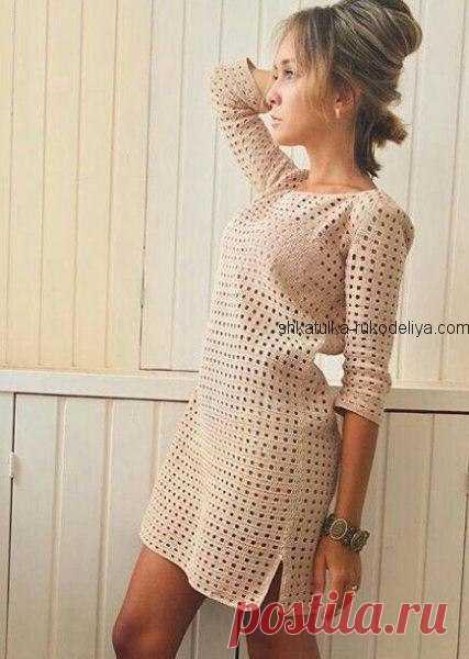 Простое, но очень элегантное платье крючком