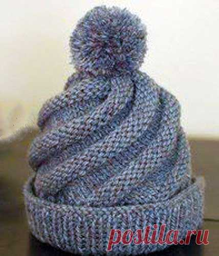 We knit a cap a spiral spokes | KNITTING of CAPS: women's caps spokes and hook, men's and children's caps, knitted bags