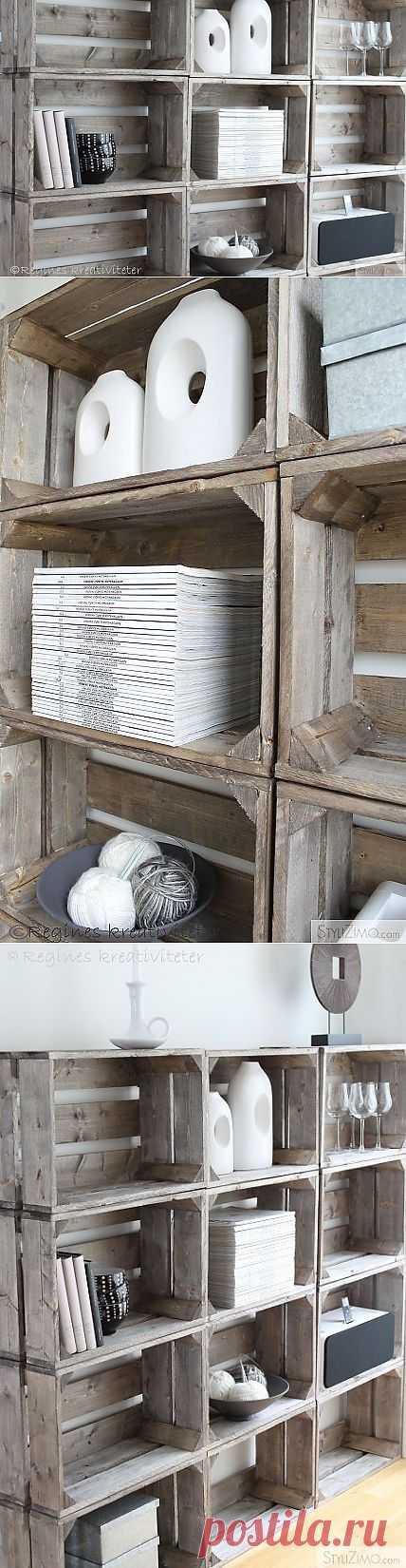 Стеллаж из деревянных ящиков. Просто, дешево и оригинально.