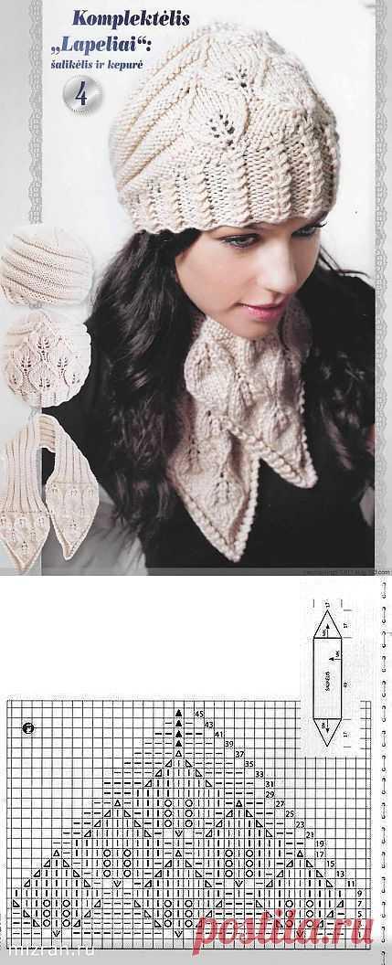 Удачная модель: шапочка и шарфик спицами.