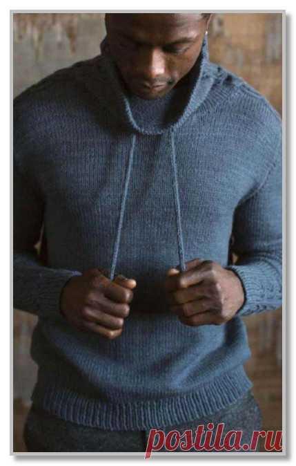 Вязание спицами. Описание мужской модели со схемой и выкройкой. Пуловер со свободным воротником и рельефной полосой. Размер 36 (40, 44, 48, 52)