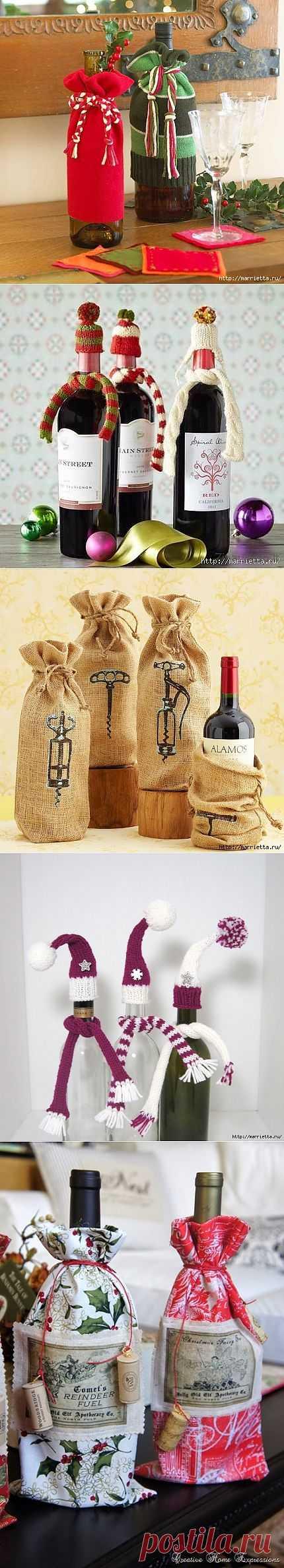 Идеи оформления бутылок со спиртным к Новогодним праздникам.