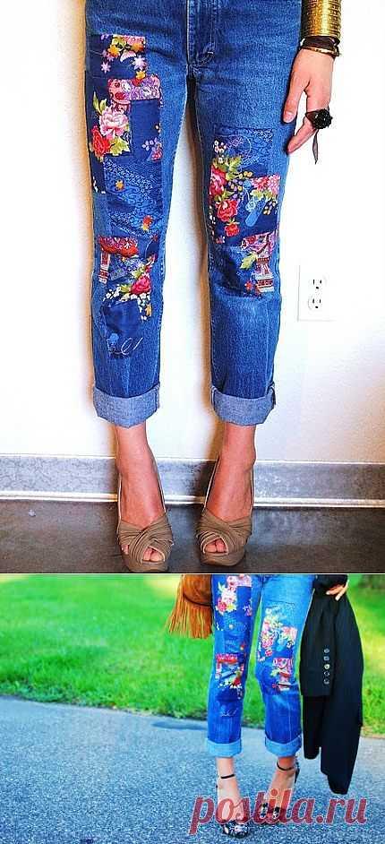 Джинсы с заплатами в цветочек / Переделка джинсов / Модный сайт о стильной переделке одежды и интерьера