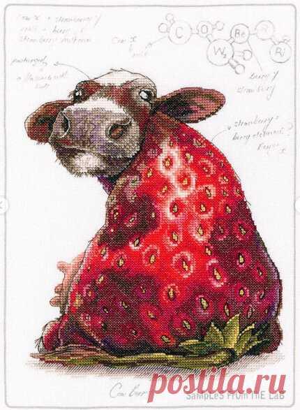 Странные и непонятные вышивки. Клубничная корова - Cow Berry от RTO | Вышивка и акварель | Яндекс Дзен