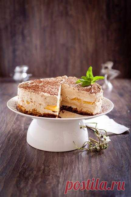 Life tastes great! - Cake in 30 minutes! Coffee mousse with peaches and biskivity. Author: lifetastesgreat