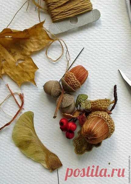 Осенний жёлудь из пряжи или мулине: мастер-класс