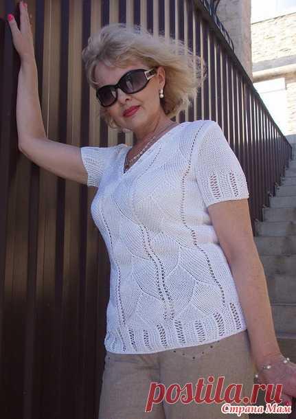 . Летний пуловер с короткими рукавами - Вязание спицами - Страна Мам