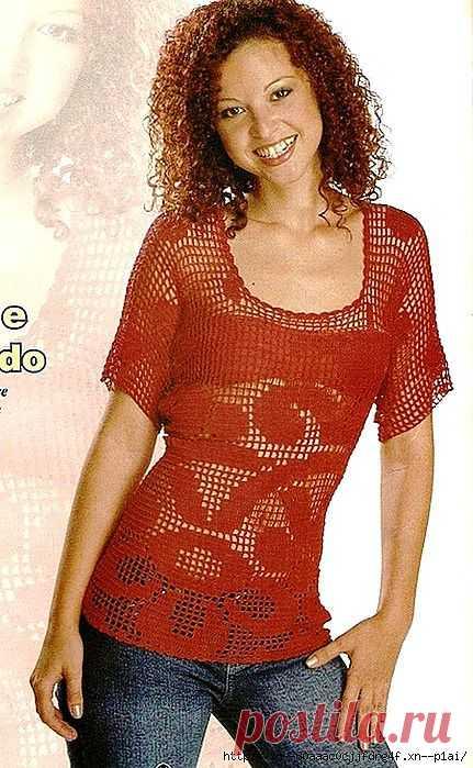 Блузка в филейной технике.