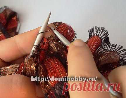 Вязание фантазийной пряжей шарфа