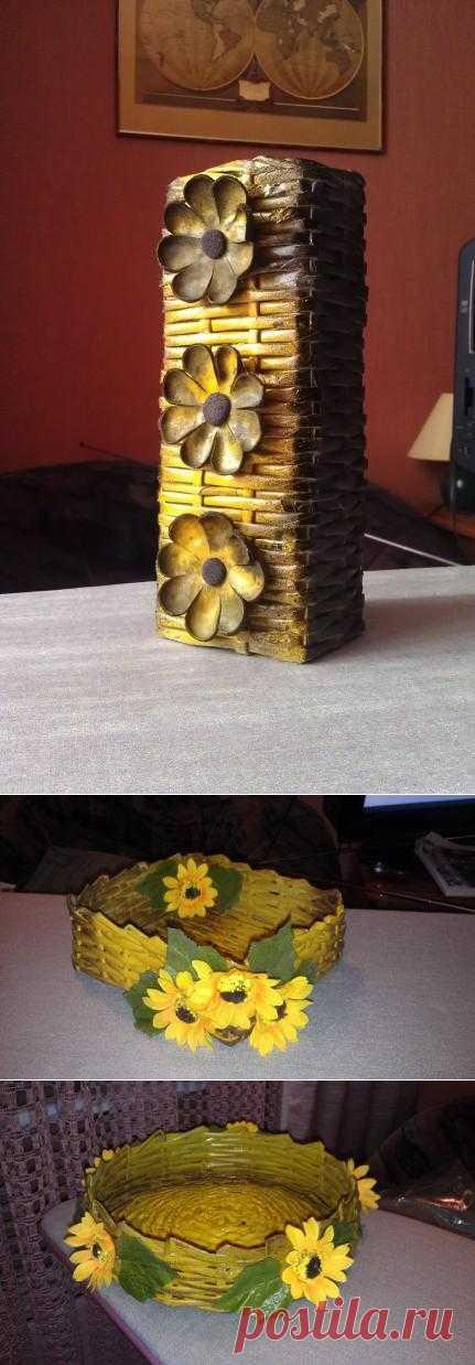 (+1) - Плетение из газеты и декорирование бутылочек | РУКОДЕЛИЕ