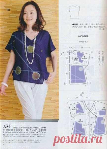 Выкройка блузки на жару Модная одежда и дизайн интерьера своими руками