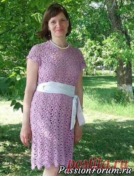 Платье ленточным кружевом - запись пользователя tk (Татьяна) в сообществе Вязание крючком в категории Женская одежда крючком. Схемы и описание