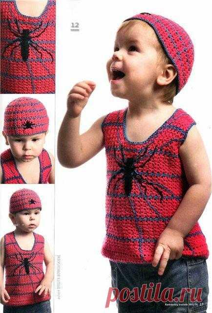 """Майка и шапочка """"Человек-паук"""". Есть схема вязания."""