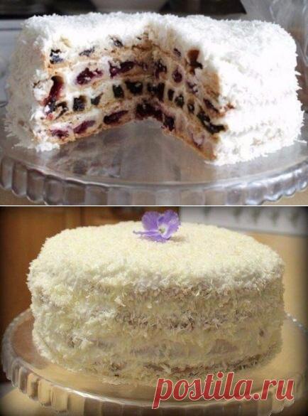 Торт «Вишня в снегу» с кокосовой стружкой, рецепт с фото пошагово | Вкусные кулинарные рецепты