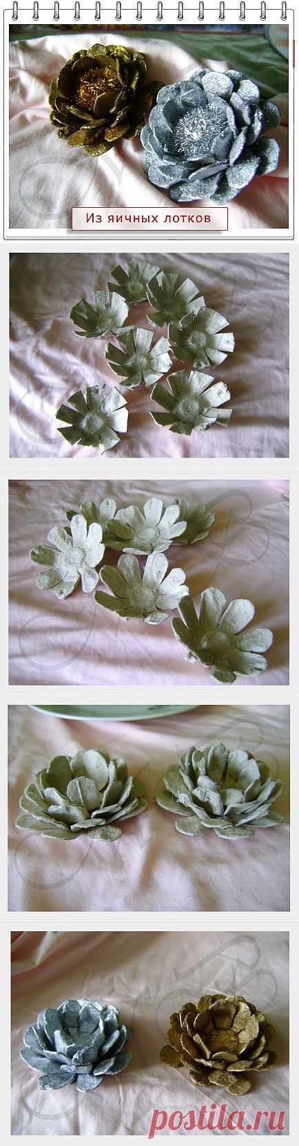 Цветы из яичных лотков..