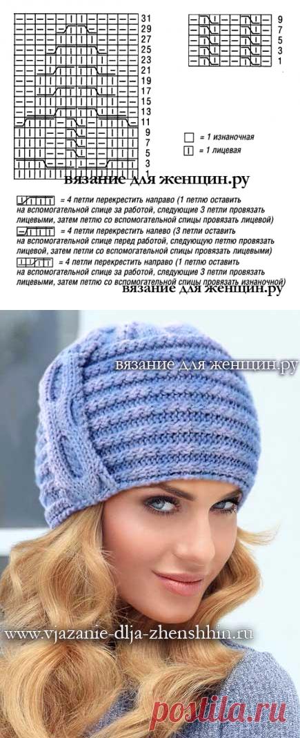 головные уборы модная вязаная шапка спицами вязание вязание