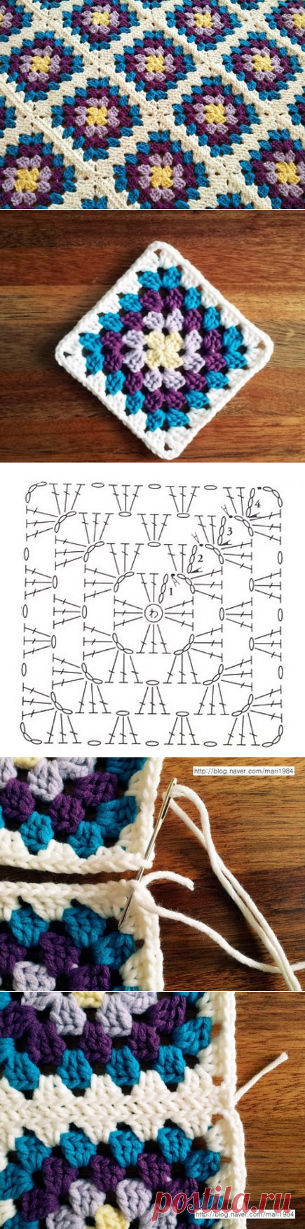 Вязание крючком. Коврик из квадратных цветных мотивов
