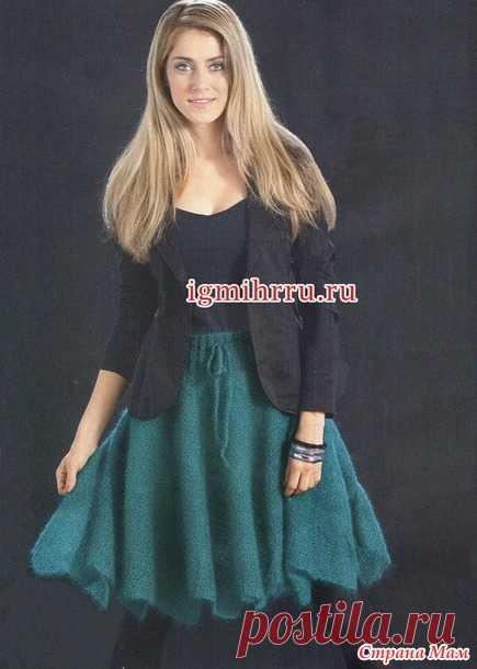 Изумрудная мохеровая юбка